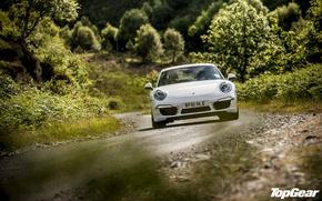 Картинка дорога, белый, Top Gear, суперкар, деревья, самая лучшая телепередача, высшая передача, топ гир, передок, 911, ...