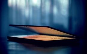 Картинка цвета, стол, фокус, утро, подсветка, ноутбук