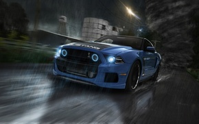 Картинка Mustang, Ford, Shelby, GT500, Car, Rain, Road