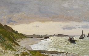 Картинка берег, лодка, картина, морской пейзаж, Клод Моне, Побережье в Сент-Адресс