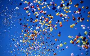 Обои шарики, разноцветные, Небо, воздушные шары