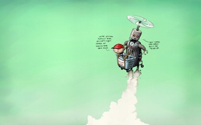 Обои rob sheridan, вертолет, situations, полет, юмор, ситуации, корзина, робот, мальчик
