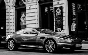 Картинка фото, улица, купе, черно-белое, автомобиль, Aston Martin DBS, английской компании Aston Martin, класса GT, двухместное