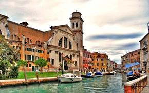 Картинка мост, башня, дома, Италия, Венеция, канал