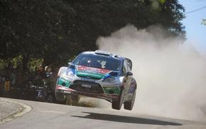 Картинка Ford, Пыль, Прыжок, Форд, WRC, Rally, Ралли, Fiesta, Фиеста