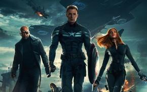 Картинка Scarlett Johansson, Girl, Red, Men, Guns, Marvel, Captain America, Black Widow, Battleship, Chris Evans, Natasha, …