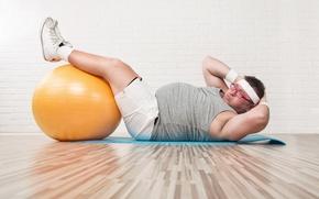 Обои exercise, ball, fat
