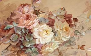 Картинка цветы, розы, пастель, Franz A. Bischoff
