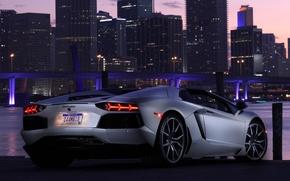 Картинка небо, свет, мост, город, огни, автомобиль, roadster, задок, LP700-4, Lamborghini Aventador