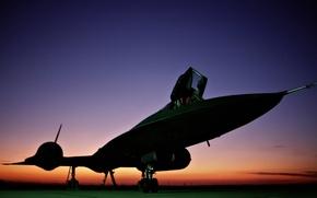 Обои закат, разведчик, Blackbird, стратегический, ВВС США, Lockheed SR-71, свехзвуковой