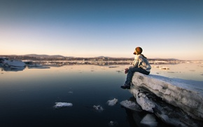 Обои river, sunset, man, serenity, peaceful