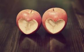 Обои сердечко, wallpapers, настроения, фон, сердце, обои, красное, яблоко, love, ситуации
