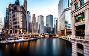 Картинка Зима, Вечер, Река, Чикаго, Небоскребы, Здания, Америка, Chicago, River, America