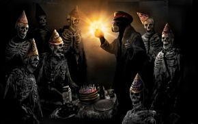 Картинка день рождения, торт, капитан, застолье, скелеты, романтика апокалипсиса, romantically apocalyptic, happy birthday
