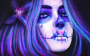 Картинка цветок, девушка, лицо, череп, макияж, sugar skull