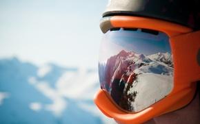 Картинка mountains, helmet, goggles Snow