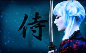 Картинка девушка, оружие, фон, рисунок, меч, катана, макияж, воин, арт, самурай, прическа, блондинка, иероглифы