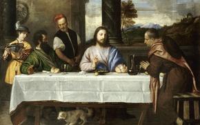 Картинка вино, картина, Лувр, хлеб, собачка, жест, wine, painting, jesus christ, сюжет из библии, bread, table, …
