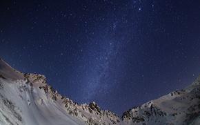 Картинка космос, звезды, снег, горы, ночь, пространство