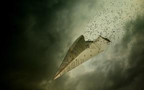 Картинка полет мысли, бумага, самолет, мысли в никуда, буквы, пепел