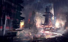 Картинка город, будущее, дождь, небоскребы, нуар, мегаполис