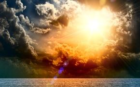 Картинка море, волны, небо, вода, солнце, облака, тучи, океан, Природа, горизонт, блик