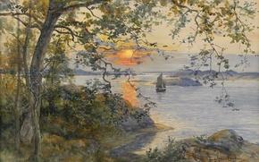 Картинка вечер, Анна Гарделл-Эриксон, Береговой пейзаж с парусной лодкой в лучах заката