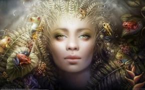 Картинка листья, девушка, цветы, лицо, арт, лягушки, дриада, anna dittmann
