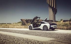 Картинка дорога, линия электропередач, BMW i8