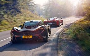 Обои Skid, McLaren, Moutian, Power, Red, Black, Ferrari, Sun, Rear, Road, Sky, Speed, LaFerrari, Supercars, Lead