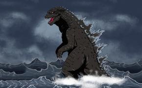 Картинка море, вода, монстр, динозавр, Godzilla, годзилла, dinozaur
