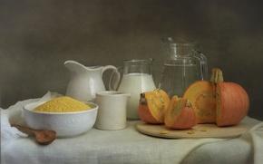 Картинка молоко, тыква, пшено, ингредиенты