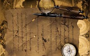 Картинка письмо, карта, лупа, компас, стилет