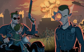 Картинка Терминатор 2, Арнольд Шварценеггер, Arnold Schwarzenegger, Judgment Day, Terminator 2, Судный день, Эдвард Ферлонг, Robert …