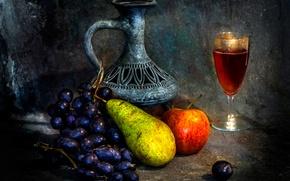 Картинка вино, кувшин, фрукты, The empty vessel