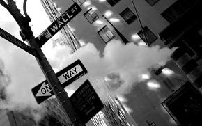 Картинка город, фото, фон, обои, улица, чёрно-белое, Нью-Йорк, Манхеттен, City, картинка, New York, снимок, Уо́лл-стрит, Wall …