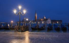 Обои ночь, город, лодки, освещение, фонари, Италия, Венеция, канал, Italy, гондолы, Venice, Piazza San Marco, Площадь ...