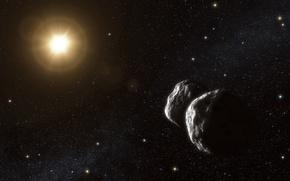 Картинка пустота, звезда, астероиды
