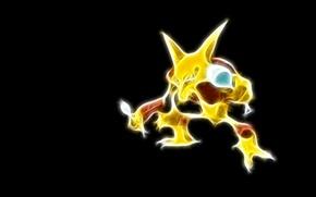 Картинка покемон, pokemon, неоновые линии, алаказам, alakazam, гипно