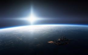 Картинка космос, корабль, На орбите