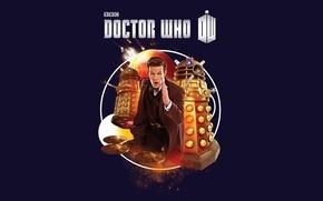 Картинка взгляд, фон, фантастика, планета, логотип, костюм, актер, мужчина, пиджак, бежит, Doctor Who, космические корабли, Доктор ...