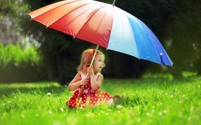 Картинка трава, деревья, природа, зонтик, ребенок, горошек, платье, девочка