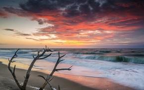 Картинка море, волны, пляж, рассвет, утро