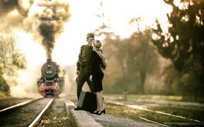 Картинка есть такая профессия, Родину защищать, военный, девушка, поезд, Прощание, рельсы, пилотка, гимнастёрка