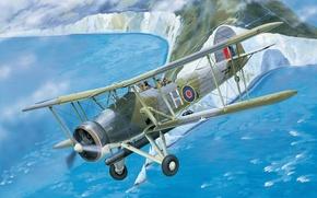 Картинка war, art, airplane, painting, aviation, ww2, Fairey Swordfish
