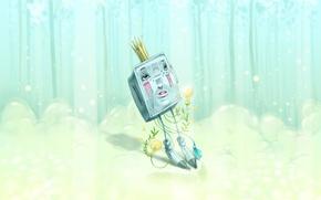 Обои картина, Miriam Moshinsky, робот, лес