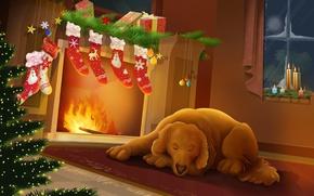 Обои собака, тепло, новый год, ночь, рождество, камин