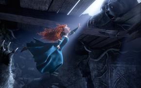 Картинка мультфильм, Шотландия, медведь, полёт, Disney, Pixar, Пиксар, принцесса, bear, red hair, Scotland, the movie, film, …