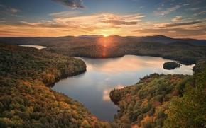 Обои осень, лес, закат, озеро, пруд, панорама, Woodbury, Vermont, Вермонт, Nichols Pond, Вудбери