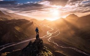 Картинка горы, человек, утро